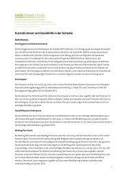 Kurzinfo Armut und Sozialhilfe in der Schweiz - Im Fall