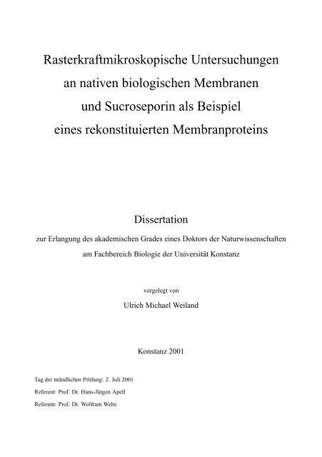 Rasterkraftmikroskopische Untersuchungen an nativen biologischen ...