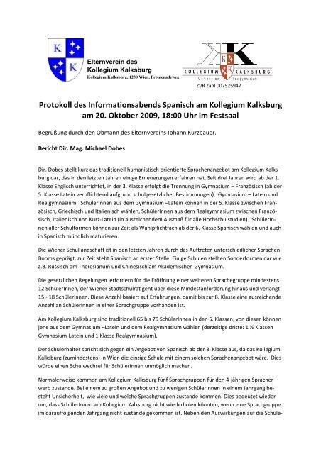 Protokoll Des Informationsabends Spanisch Am Kollegium