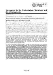 MA Tibetologie und Buddhismuskunde - Senat - Universität Wien