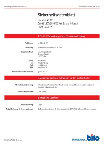 Sicherheitsdatenblatt AF 303 - Bito AG