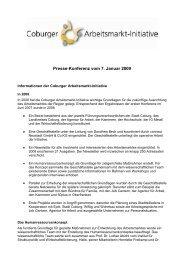07.01.2009 Informationen der Coburger Arbeitsmarkt ... - Stadt Coburg