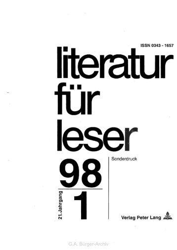 Bürgers Ballade - Leben und Werk des Dichters Gottfried August ...