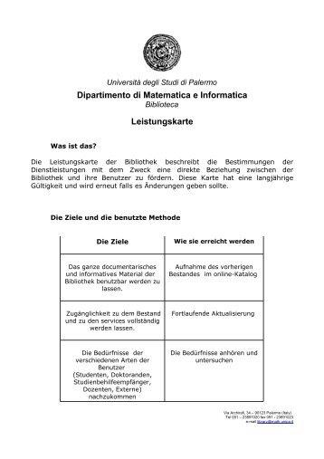 Dipartimento di Matematica e Informatica Leistungskarte