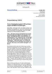 Pressemitteilung vom 6. Februar 2013 - Südwestmetall
