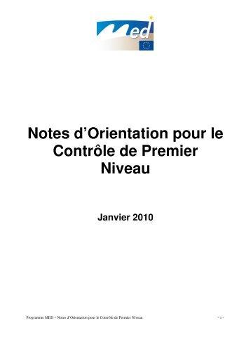 Notes d'Orientation pour le Contrôle de Premier ... - Programme Med