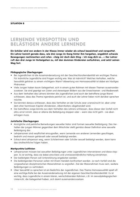PerSönLiCHe grenzen kennen unD reSPektieren - beim LCH