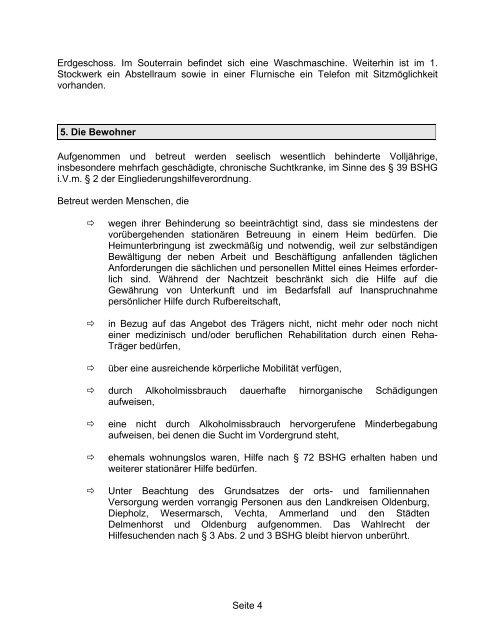 Konzeption des Haupthauses - Bezirksverband Oldenburg