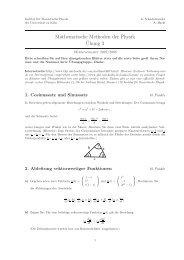 Mathematische Methoden der Physik ¨Ubung 3 - Universität zu Köln