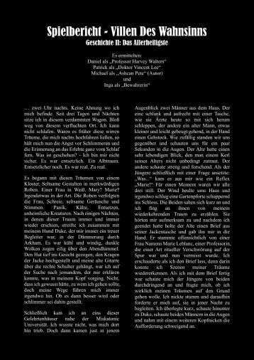 Spielbericht: Villen des Wahnsinns (pdf) - lippo-design.de