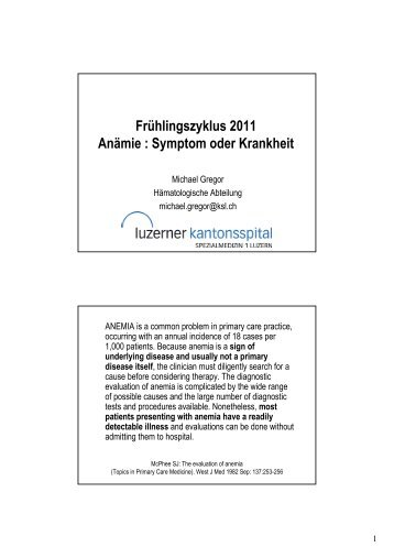 Anämie : Symptom oder Krankheit