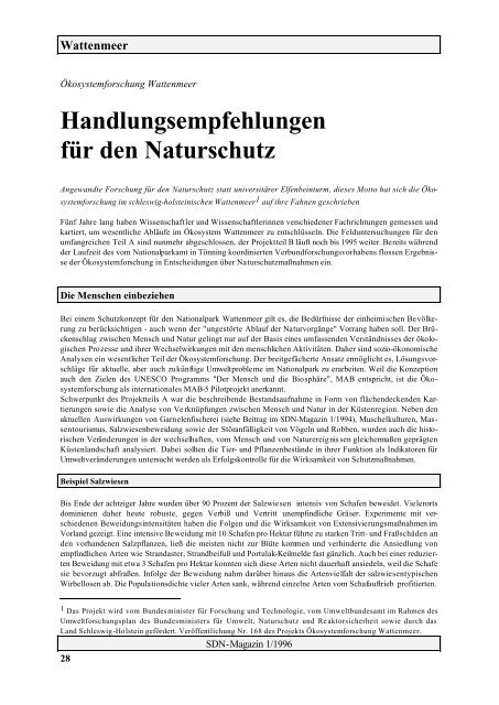 Handlungsempfehlungen für den Naturschutz - SDN