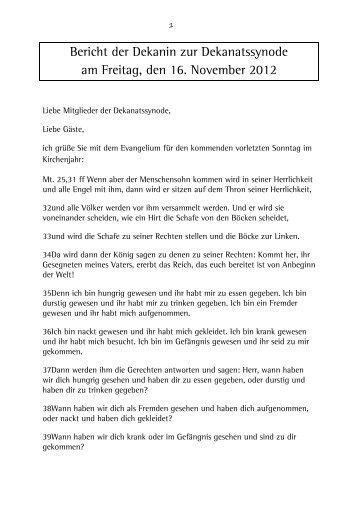Bericht der Dekanin zur Dekanatssynode am Freitag, den 16 ...
