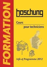 Fraiseuses Cours pour techniciens - Boschung