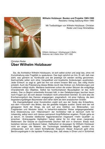 Über Wilhelm Holzbauer - Christian Reder