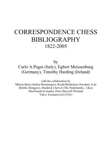 Correspondence Chess Bibliography - Ken Whyld Association