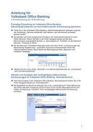 Anleitung für Volksbank Office Banking - Volksbank Landeck