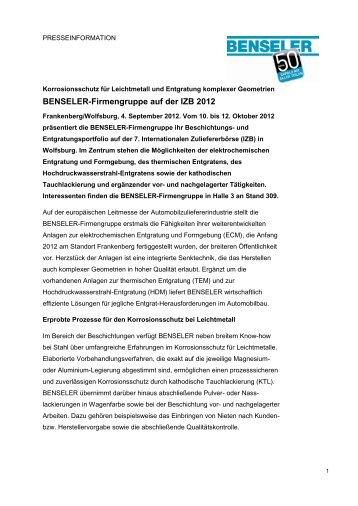 BENSELER auf der IZB 2012 - Benseler Firmengruppe
