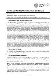 Curriculum für das Masterstudium Tibetologie - Senat - Universität ...