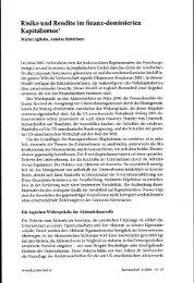 Risiko und Rendite im finanz-dominierten Kapitalismus I - BEIGEWUM