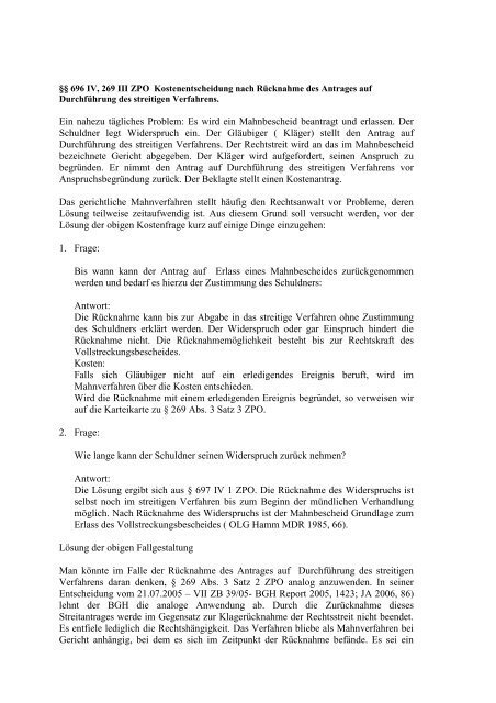 Ubersichten Zum Erkenntnisverfahren Zpo I 13