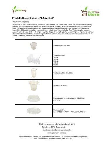 "Produkt-Spezifikation ""PLA-Artikel"" - Greenway-Store"