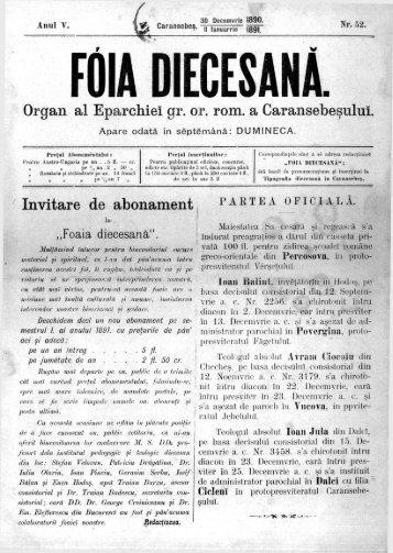 Organ al Eparchiei gr. or. rom. a Caransebeşului. Invitare ... - DSpace