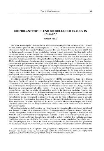 DIE PHILANTROPHIE UND DIE ROLLE DER FRAUEN IN UNGARN*