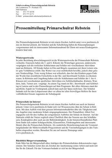 Pressemitteilung Primarschulrat Rebstein - Primarschule Rebstein