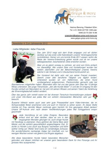 GGm Newsletter4 Dezember 2012 - Galgos, Greys and more