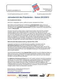 Jahresbericht des Präsidenten – Saison 2012/2013 - SC Bümpliz 78