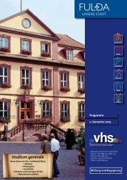 Herbstkursprogramm 2013 - vhs der Stadt Fulda