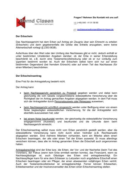 Erbschein Und Antrag Nachlassverwalter Bernd Clasen