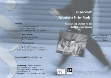 Presserechtsseminar 6.0 - Netzwerk Recherche