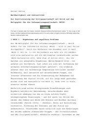 Rainer Kuhlen Nachhaltigkeit und Inklusivität Zur Positionierung der ...