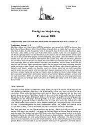 Predigten Pastor Moser 2006 - Alsterbund
