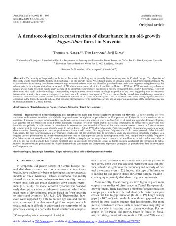A dendroecological reconstruction of disturbance in an old-growth ...