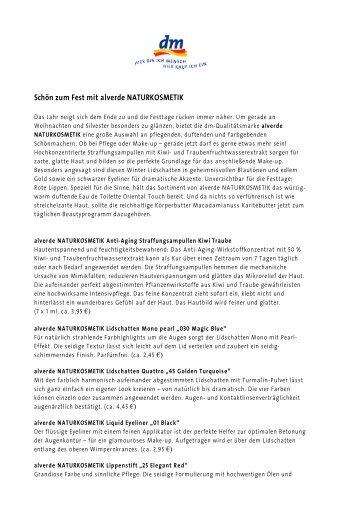 beautypress_alverde Schön zum Fest Pressetext final - Dm
