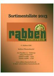 Der Katalog 2013 als PDF. - Rabben Baumschulen