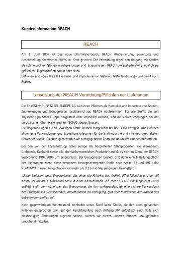 Kundeninformation REACH - ThyssenKrupp Steel Europe AG