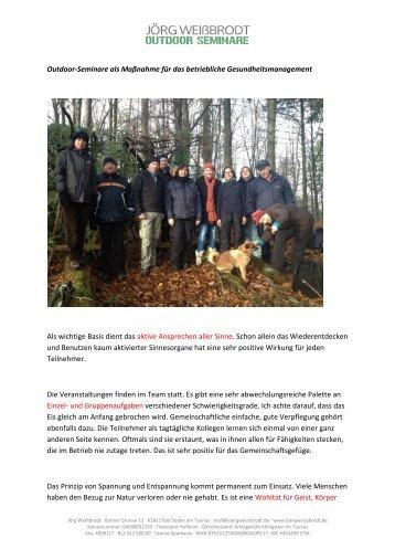 Outdoor-Seminare als Maßnahme für das ... - Jörg Weißbrodt