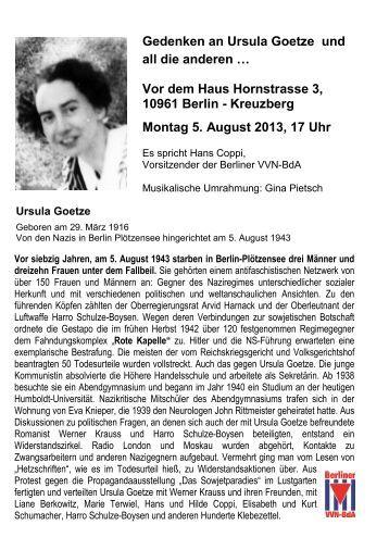 Gedenken an Ursula Goetze und all die anderen Vor dem Haus ...
