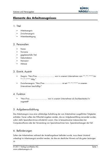 Elemente des Arbeitszeugnisses (PDF, 171 KB)