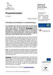 """34 Zertifikate """"berufundfamilie"""" im Land Brandenburg"""