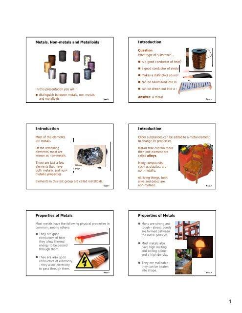 Metals Nonmetals And Metalloids Pdf Teacherweb