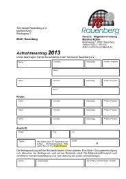 Aufnahmeantrag 2013 - Tennisclub Rauenberg eV