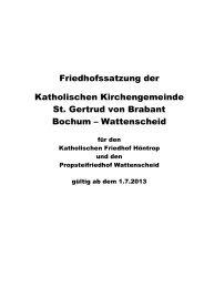 gehts zur Friedhofssatzung - Propsteifriedhof in Bochum-Wattenscheid