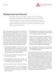 Richtig essen bei Demenz - Schweizerische Alzheimervereinigung