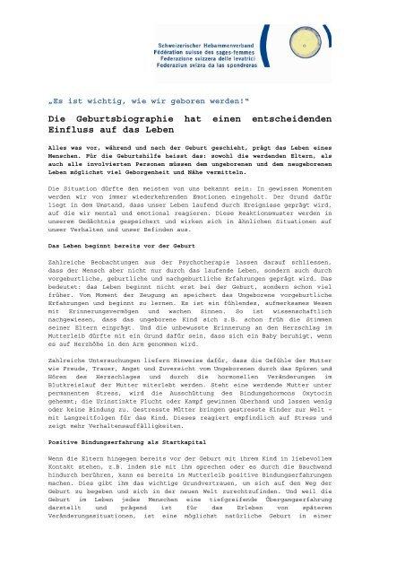 ausführlicher Text (.pdf) - Schweizerischer Hebammenverband