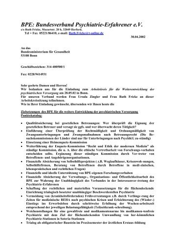 Zielsetzungen des BPE - Bundesverband Psychiatrie-Erfahrener e.v.